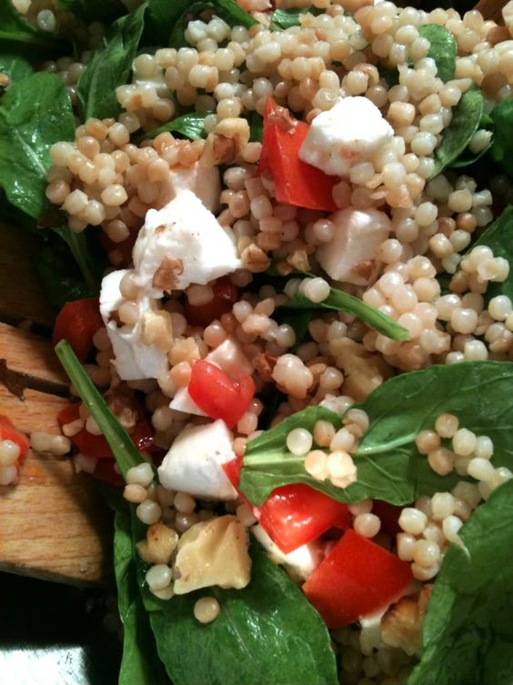 Israeli Couscous Salad with Tomatoes and Arugula - Dinner Is Served