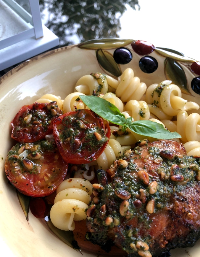Grilled Chicken and Tomatoes with Pesto - Dinner Is Served