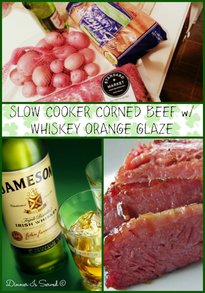 Slow Cooker Corned Beef with Whiskey Orange Glaze Dinner Is Served