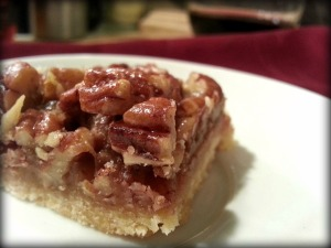 Maple Pecan Sticky Bars with Maple Bourbon from Dinner Is Served
