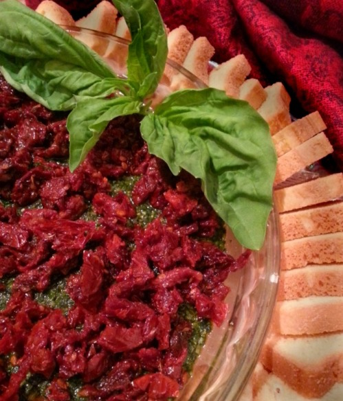 Holiday Spinach & Basil Pesto Spread with Sun Dried Tomatoes | Dinner Is Served