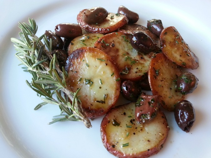 Sauteed New Potatoes with Rosemary & Olives | Dinner Is Served
