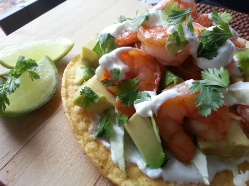 Chile Tequila Shrimp Tostadas with Lime Crema