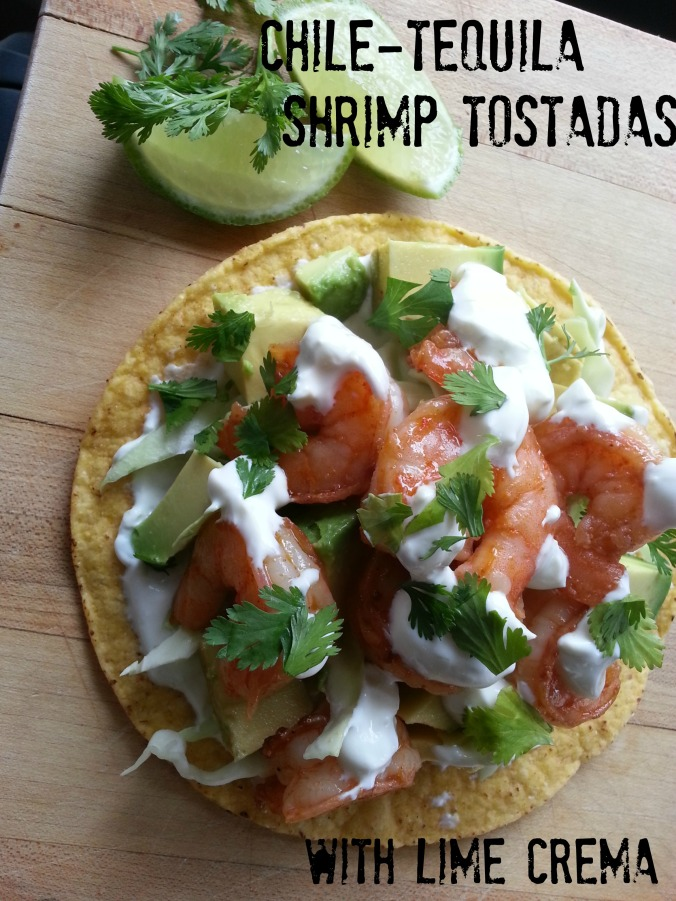 Chile-Tequila Shrimp Tostadas with Lime Crema | Dinner Is Served