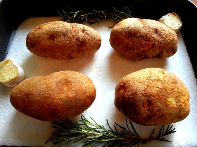 Potatoes Baked in Salt with Garlic &amp Rosemary Butter |  Dinn