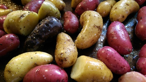 Roasted FIngerling Potatoes with Pesto | Dinner Is Served