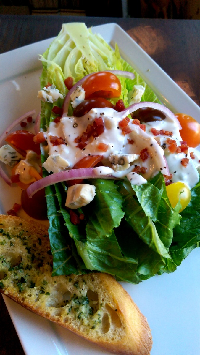 Romaine Wedge Salad with Creamy Gorgonzola Dressing and Garlic-Parmesan Toasts