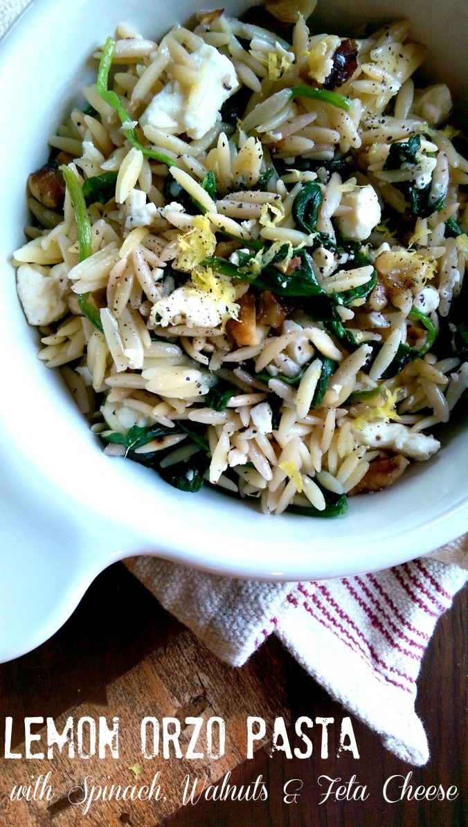 Lemon Orzo Pasta with Spinach, Walnuts and Feta Cheese | Dinner Is Served