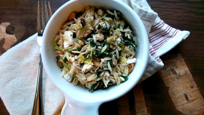 Lemon Orzo with Spinach, Walnuts and Feta Cheese | Dinner Is Served