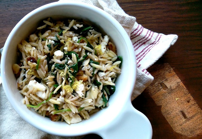 Lemon Orzo Pasta with Walnuts, Spinach and Feta Cheese | Dinner Is Served