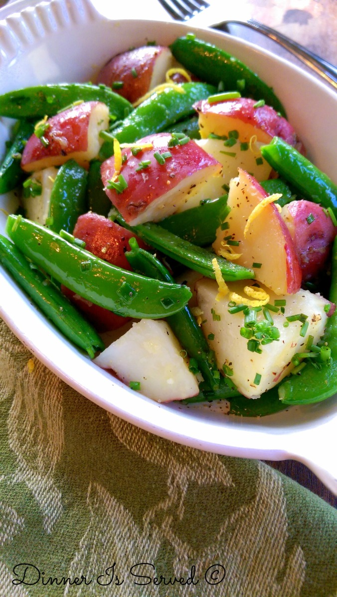 Sauteed New Potatoes with Sugar Snap Peas & Chives | Dinner Is Served