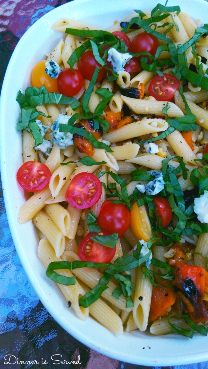 Farmers Market Penne Pasta with Grilled Vegetables, Blue Cheese & Basil| Dinner Is Served
