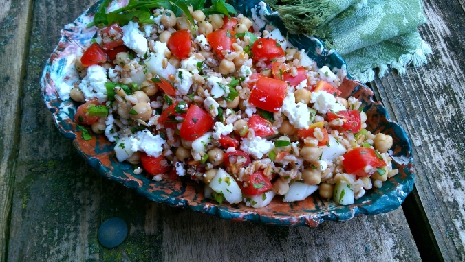 Farro Salad with Tomatoes, Cucumbers & Feta Dinner Is Served Cover