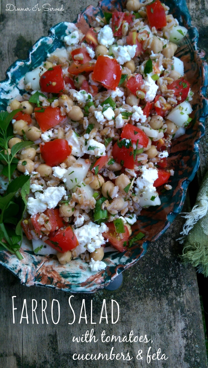 Farro Salad with Tomatoes, Cucumbers & Feta Dinner Is Served