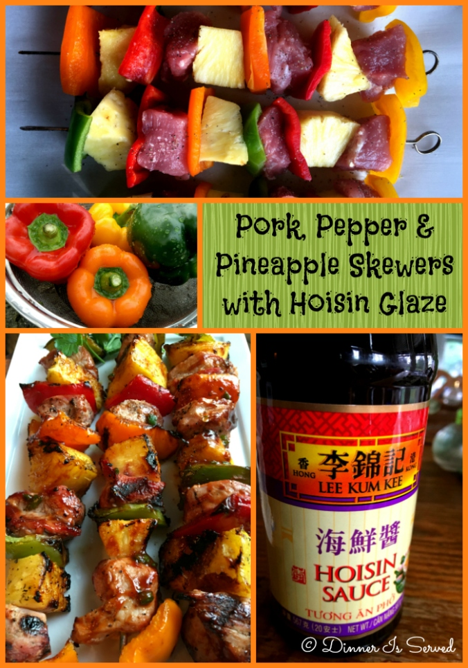 Pork, Pepper and Pineapple Skewers with Hoisin Glaze - Dinner Is Served