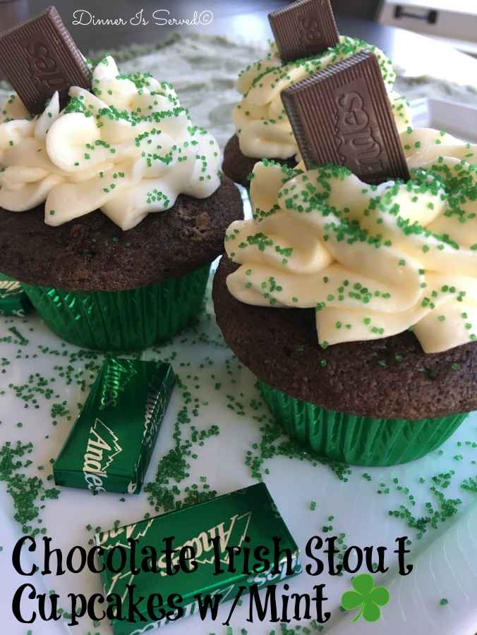 Chocolate Stout Cupcakes with Mint - DInner Is Served