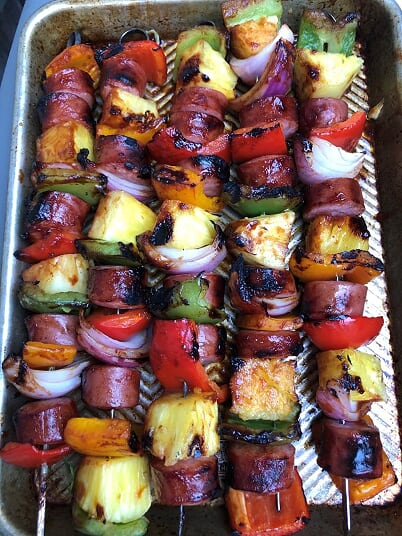 Smoked Sausage Pepper and Pineapple Skewers - DInner Is Served3